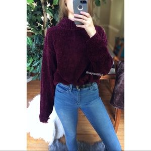🌿 Vintage Burgundy Chenille Cozy Knit Turtleneck